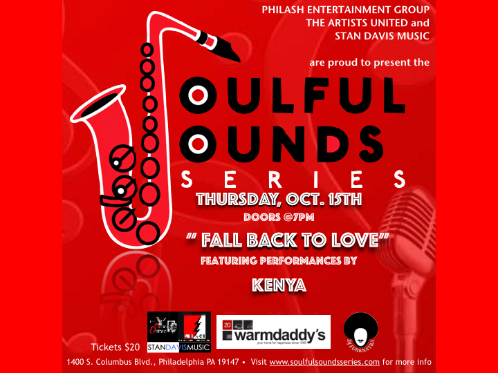 "The Soulful Sounds Series Returns to Warmdaddy's on October 15, 2015 featuring live performances by Soul Sensation form Chicago, Kenya. Her current song ""Let Me Show You "" has become an international hit. Get your tickets now for this songtress as she stops in Philadelphia on her tour at The Soulful Sounds Series. For more information go to www.soulfulsoundsseries.com"